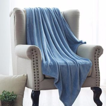 Throw Blanket Blue Soft Coral Plaid Blankets
