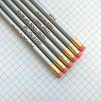 mean girls assorted engraved pencil set 6 silver pencils.