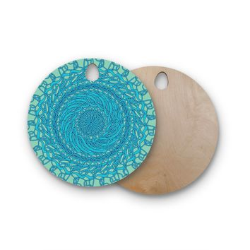 "Patternmuse ""Mandala Spin Mint"" Green Blue Round Wooden Cutting Board"