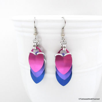 Bisexual pride earrings, chainmaille scales earrings