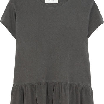 The Great - The Ruffle slub cotton-jersey T-shirt