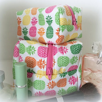Mommy and Me Pineapple Cosmetic Cases, Makeup bag set- Monogram Available