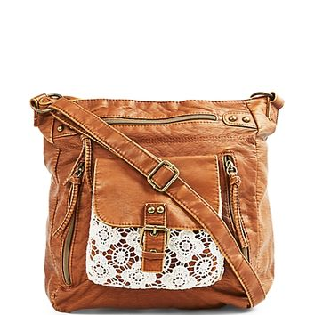 Crochet Pocket Washed Cross Body by T-Shirt & Jeans
