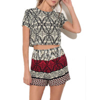Printed Short Sleeve T-Shirt with Short