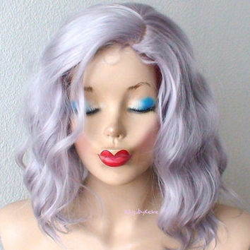 Pastel wig. Short wig. Gray hair wig. Beach wave hairstyle wig. Lavender silver hair wig. Short wavy wig. Beachy waves wig for daily use.