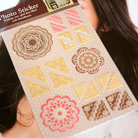 Paper Photo Corner Stickers Brown Lace Polaroid Instax Film Decoration Kawaii DIY Srapbook Album