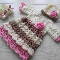 Baby girl outfit newborn clothes, hospital outfit, infant dress, cream baby dress, baby girl dresses, newborn dress