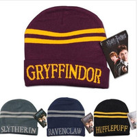 Harry Potter 4 college hats Gryffindor cap Slytherin beanies Ravenclaw skullies winter hat