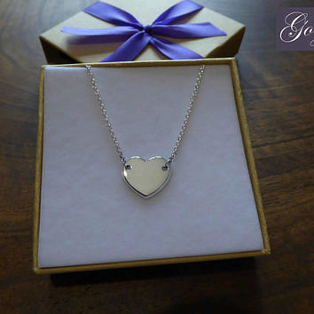 Handmade Silver Heart Charm - Heart Pendant - Love Heart Necklace - Shiny Silver Heart
