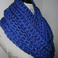 Infinity Scarf Cowl Long Handmade Royal Blue Crochet Bulky Acrylic Yarn Ready to Ship