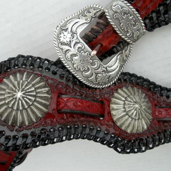 Leather Guitar Strap with Conchos Western Guitar Strap, Rocker Style Guitar Strap, Custom, Handmade Guitar Strap, Black and Red