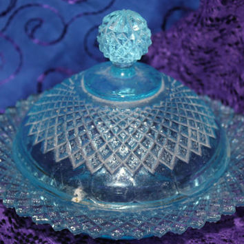 Gorgeous Vintage Clear Aqua Blue Covered Candy Dish  Diamond Cut