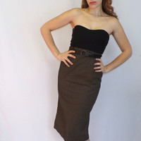 Vintage Size 7 A. Byer Sexy Librarian 30s 40s Style Black Tan Pinstripe Maxi Pencil Skirt Mad Men Wiggle Skirt Pin up Girl High Waist