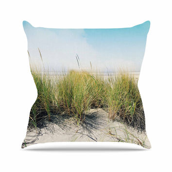 "Sylvia Cook ""Dune Grass"" Coastal Photography Outdoor Throw Pillow"