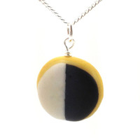 Black and white cookie necklace