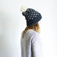 Fair Isle Knit Pom Pom Ski Hat Slouchy Beanie Toque | THE OXFORD | Charcoal & Fisherman