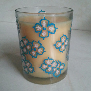 Honeysuckle Candle, Hand Painted Candle, Yellow Candle, Turquoise Flowers, Handpainted Home Decor, Wedding Decor, More Scents Available!