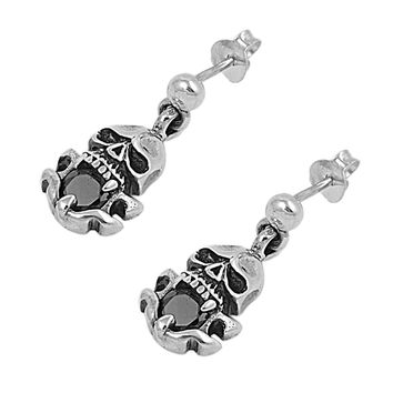 Sterling Silver Simulated Black Diamond CZ 20MM Skull Earrings