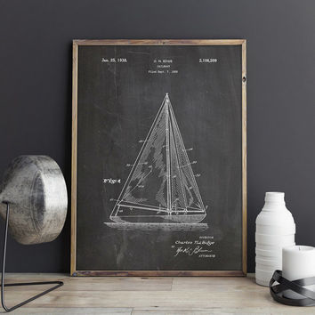 Sailboat Art, Nautical Nursery,Sailboat,Sail Wall Art,Sailing Wall Decor,Sailor Printable,Sail Printable,Sailboat Blueprint,INSTANT DOWNLOAD