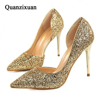 Quanzixuan Women Pumps Sexy High Heels Women Shoes Bling Woman Wedding Party Shoes Gold