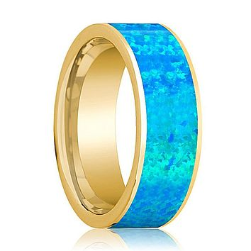 Mens Wedding Band 14K Yellow Gold with Blue Opal Inlay Flat Polished Design