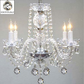 "Murano Venetian Style All Crystal Chandelier H17"" X W17"" Swag Plug In-Chandelier W/ 14' Feet Of Hanging Chain And Wire! - A46-B15/B6/275/4"