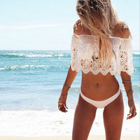 White Lace Cutout Off-Shoulder Top