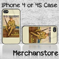 Vintage US Marines Custom iPhone 4 or 4S Case Cover