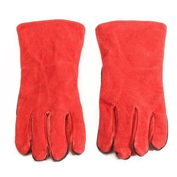 ONETOW XL Leather Welder Gauntlet Log Fire High Temperature Protection Long Glove Stove Safety Gloves