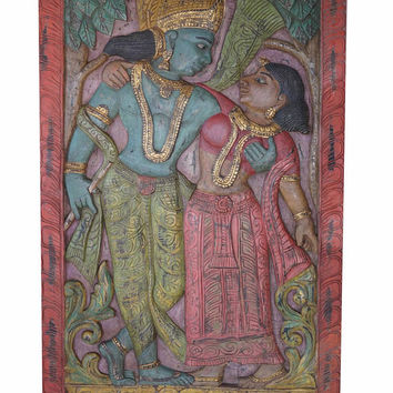 Spiritual Yoga Barn Door Antique Vintage Hand Carved  Radha Krishna Divine Love Wall Sculpture