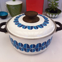Vintage enamel Noritake pot with abstract blue designs!! ReTrO KiTcHeN!