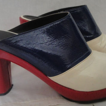 Fabulous 70's Disco Era Red White Blue Platform Slip On Shoes 8 Italy