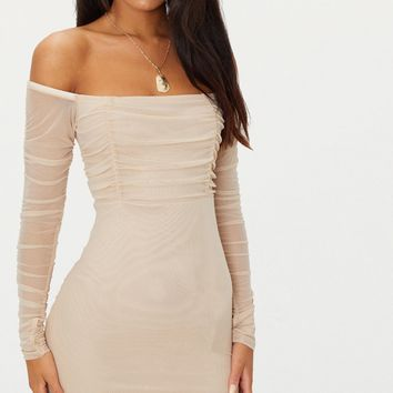 Stone Ruched Mesh Bardot Bodycon Dress