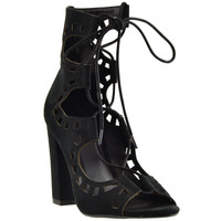 Womens Ghillie Lace Up Ankle Booties Black
