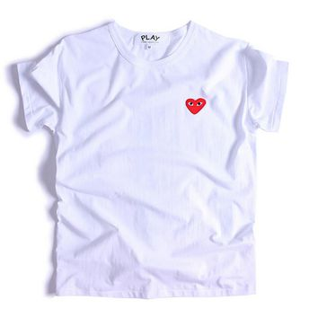 PLAY Little red heart sets round collar couples short sleeve T-shirt