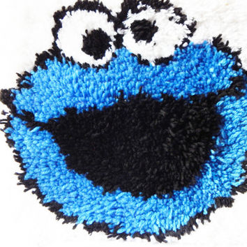 Latch Hook Rug Children Kids Room Blue Monster Puppet Nursery Decor Cute Sale Boy Girls Gift Idea Child Friendly Fun Baby Decoration Kids
