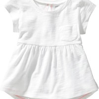 Eyelet-Back Peplum Tees for Baby