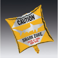 Metallic Balloon Square Shark Splash/Case of 12