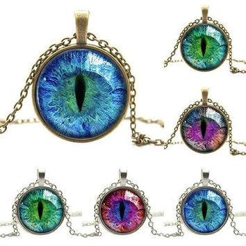 2016 new Colored Dragon Cat Eye Glass Cabochon Silver Gold Plated Pendant Necklace 6Y2F 7FRN 9BGF AATH