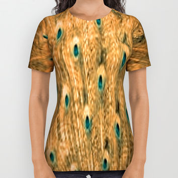 Orange Feather All Over Print Shirt by Jessica Ivy