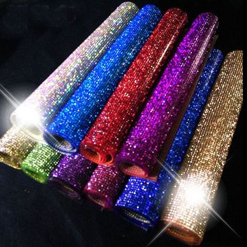 SS6crystal Beads Trims Rhinestone Iron On Transfer Design Mesh Strass Crystal Roll Wedding Bridal Decoration