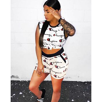 Champion Fashion New More Letter Print Vest Sports Leisure Top And Shorts Two Piece Suit White