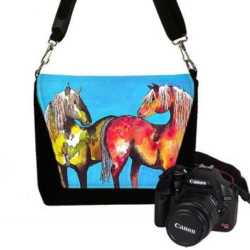 Digital SLR Camera Bag for Women Camera Bag Purse Horses Zipper Padded  -  Deluxe Painted Ponies Clara Nilles cute turquoise (RTS)