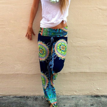 Fancyinn™ 2015 New Fashion Women Long Pants Casual High Waist  Floral Palazzo Trouser Loose Style Green Color = 5979167489