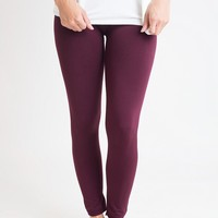Legs For Days Burgundy Fleece Lined Leggings