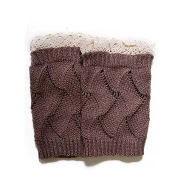 Adorable Lace Trim Khaki Brown Boot Toppers, Boot Cuffs