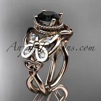 14kt rose gold diamond celtic trinity knot wedding ring,butterfly engagement ring with a Black Diamond center stone CT7136