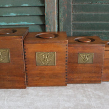 Wood nesting bins, kitchen bins, storage bins, flour bin, coffee and tea bins, rustic kitchen, kitchen decor