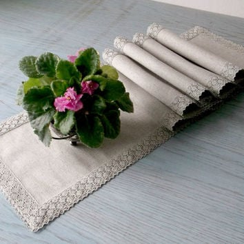 Long narrow table runner linen tablecloth Naural fabric with flax lace dining table decor centerpiece 170 cm x 25 cm