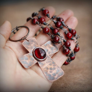 Rosary Necklace, Christian Jewelry, Rustic Primitive Copper Cross, Catholic Necklace, Blood of Christ, Wire Wrapped Necklace, Metalwork